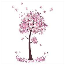Shop Pink Butterfly Flower Tree Wall Stickers Decals Girls Women Flower Mural Vinyl Wallpaper Home Living Room Bedroom Wall Decor New Online From Best Wall Stickers Murals On Jd Com Global Site