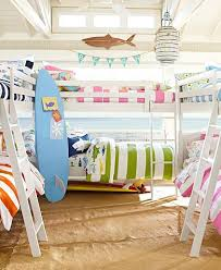 For Double Bunk Bed Room At Lake Mix Matched And Fun Beach Room Beach House Beach House Decor
