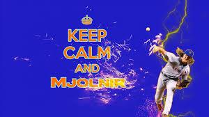 keep calm and mjolnir signage baseball