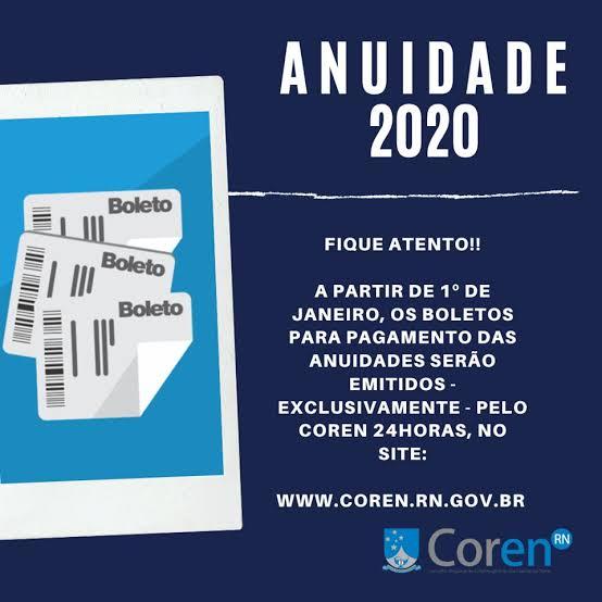 """Resultado de imagem para COREN/RN:  VALOR DE ANUIDADES PARA O EXERCÍCIO DE 2020"""""""
