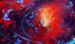 فتاة وجه ينام الفراشات زهور خلفية مجانا الصور الحصول على