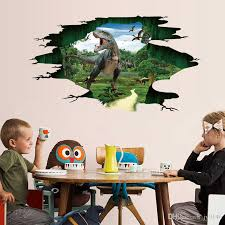 Jurassic World 3d Wall Decal Pvc Broken Wall Dinosaur Roaring Floor Sticker Boys Room Decorative Sticker For Kids Room Home Decor Cloud Wall Stickers Contemporary Wall Stickers From Jy9146 4 94 Dhgate Com