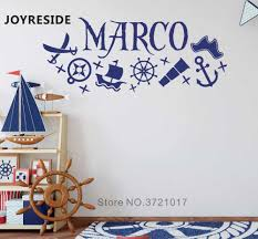 Custom Name Pirate Wall Sticker Ships Home Boy Bedroom Kids Wall Decor Art Wall Sticker Personalize Nursery Name Wall Decal M162 Wall Stickers Aliexpress