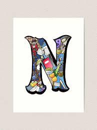 Doodle Letter N Art Print By Missmann Redbubble