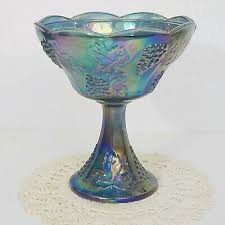 candy dish compote iridescent blue