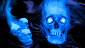 48 blue fire skull wallpaper on