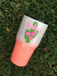 White To Coral Ombre Glitter Tumbler With Cactus Decal Yeti Cup Designs Glitter Crafts Glitter Cups