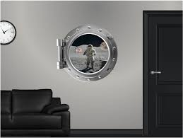 Amazon Com 24 Portscape Space Window Astronaut 1 Wall Graphic Decal Sticker Mural Home Room Art D Porthole Wall Decal Animals Kids Room Decor Wall Graphics