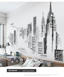 Black Retro Wall Decal Large Tall City Buildings Set Wall Stickers Mur Wood Iron Copper Craft
