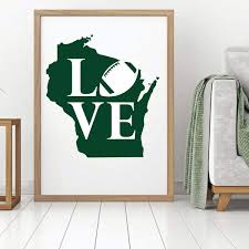 Wisconsin State Love Football Quote Vinyl Decor Wall Decal Customvinyldecor Com