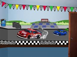 Race Track Speed Way Wall Mural With Custom Car Decal