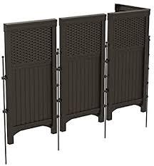 Amazon Com Suncast 4 Freestanding Wicker Resin Reversible Outdoor Panel Screen Enclosure Brown Deck Boxes Garden Outdoor