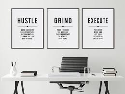 Minimalist Office Decor Wall Art Hustle Grind Inspirational Quotes 3 Piece Large Poster Set Entrepreneur Gift In 2020 Office Decor Wall Art Quotes Wall Art Decor