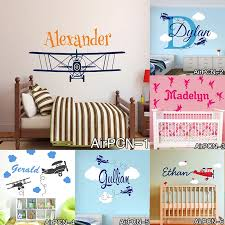 Hot Airplane Clouds Wall Decals Personalized Baby Name Vinyl Nursery Art Wall Stickers For Boy Kids Rooms Murals Home Decoration Art Wall Sticker Name Wall Stickerswall Sticker Aliexpress