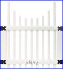3 5 X 4 Ft White Vinyl Picket Fence Gate Kit Scalloped Top Spaced Hardware Pack Fence Kit New