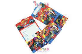 Tarjetas De Invitacion Blaze And The Monster Machines Paquete X