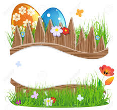Colorful Easter Eggs With Grass And Flowers Near A Wooden Fence Royalty Free Cliparts Vectors And Stock Illustration Image 27348149