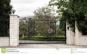 Black Metal Driveway Entrance Gates Set In Fence Stock Image Image Of White Ornate 88555187