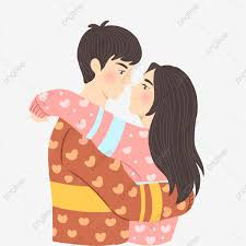 hugging little couple cartoon cute