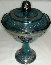 blue carnival glass compote candy dish