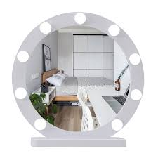 round large makeup mirror with light