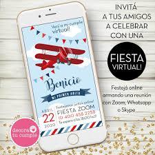 Invitacion Digital Virtual Cumpleanos Avioncito Vintage Rojo