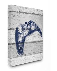 Big Savings For The Kids Room By Stupell 30 In X 40 In Video Game Controller Blue Print On Planks By Daphne Polselli Canvas Wall Art Multi Colored