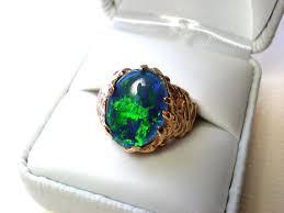 opal ring mens or womens black opal