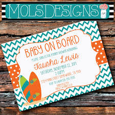 Any Color Baby On Board Shower Surfer Surfboard Beach Orange