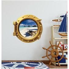 Stick It Graphix Tropical Beach 1 Porthole Window Wall Decal Vinyl Fish Ocean Sea Nursery Decor