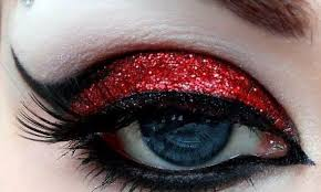 black and blood red eye makeup watch