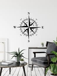 Compass Wall Sticker Nautical Decor Nautical Compass Decal Etsy Nautical Decor Bedroom Decals Wall Sticker