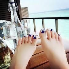 24pcs pack blue false nails toe nails