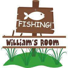 Fishing Sign Fish Customized Wall Decal Custom Vinyl Wall Art Personalized Name Baby Girls Boys Kids