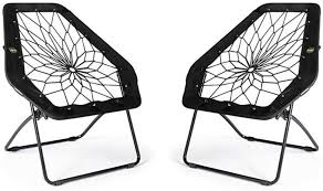 Amazon Com Bunjo Black Hexagon Bungee Chair 2 Furniture Decor