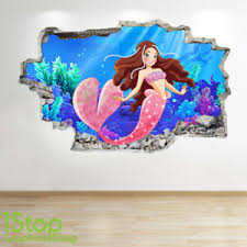 Mermaid Wall Sticker 3d Look Boys Girls Bedroom Enchanted Wall Decal Z784 Ebay