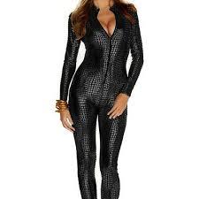 women s shiny catsuit snakeskin pattern