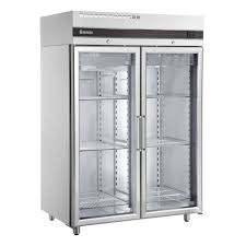 inomak double door upright glass fridge