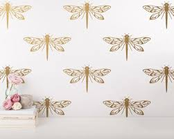 Dragonfly Wall Decals Modern Wall Stickers Gold Wall Etsy Modern Wall Stickers Gold Wall Decals Gold Wall Stickers