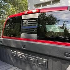 Chevy Gmc Silverado Rear Window Distressed American Flag Decal W Thin Blue Line Ebay