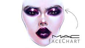 mac face chart drawing with makeup on
