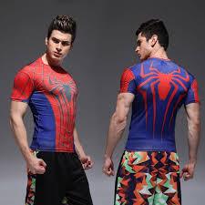 pression mens spiderman fitness t
