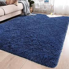 Amazon Com Yj Gwl Soft Shaggy Area Rugs For Bedroom Fluffy Living Room Rugs Anti Skid Nursery Girls Carpets Kids Home Decor Rugs 4 X 5 3 Feet Light Navy Home Kitchen