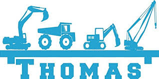 Wall Stickers Flash Sale Boy S Room Wall Shelf Name Construction Crane Dump Truck Equipment Diy Wall Art Decor Decal Our Popular Design Decal Handmade Baby Clothes And Accessories