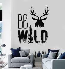 Vinyl Wall Decal Be Wild Animal Deer Head Nature Fir Trees Stickers Mu Wallstickers4you