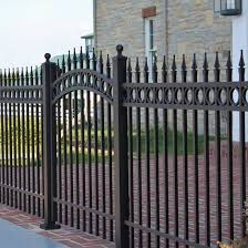 China Yellow White Fence Panel Powder Coated Fencing Aluminum 3 Rails Spearhead Fence With Rings China Fence Panel Fence With Gate