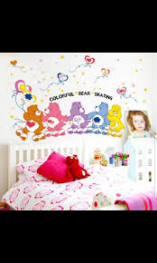 Instock Colorful Cute Cartoon Skating Care Bear Wall Stickers Bedroom Children S Room Kindergarten Bedside Wall Stickers Diy Home Size W95 H88cm Furniture Others On Carousell
