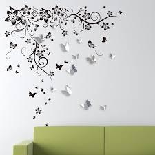 Ebern Designs New Huge Butterfly Vine And 3d Mirror Butterflies Wall Decal Reviews Wayfair