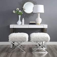 Amazon.com: Inspired Home Aurora White Faux Fur Ottoman ...