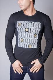 Versace Men S Black Logo Print Long Sleeve Tee Shirts Men Long Sleeve Tshirt Men Long Sleeve Tee Shirts Versace Men